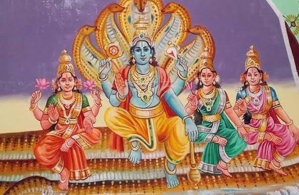 Vishnu and his three wives