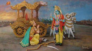Krishna narrates Gita to Arjuna